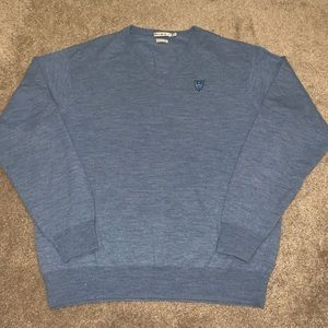 Peter Millar Merino Wool V Neck Sweater Blue XL